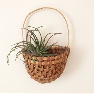Vintage Two Toned Wicker Hanging Wall Boho Basket